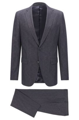 Geometric Stretch Cotton Suit, Slim Fit | Novan/Ben, Charcoal