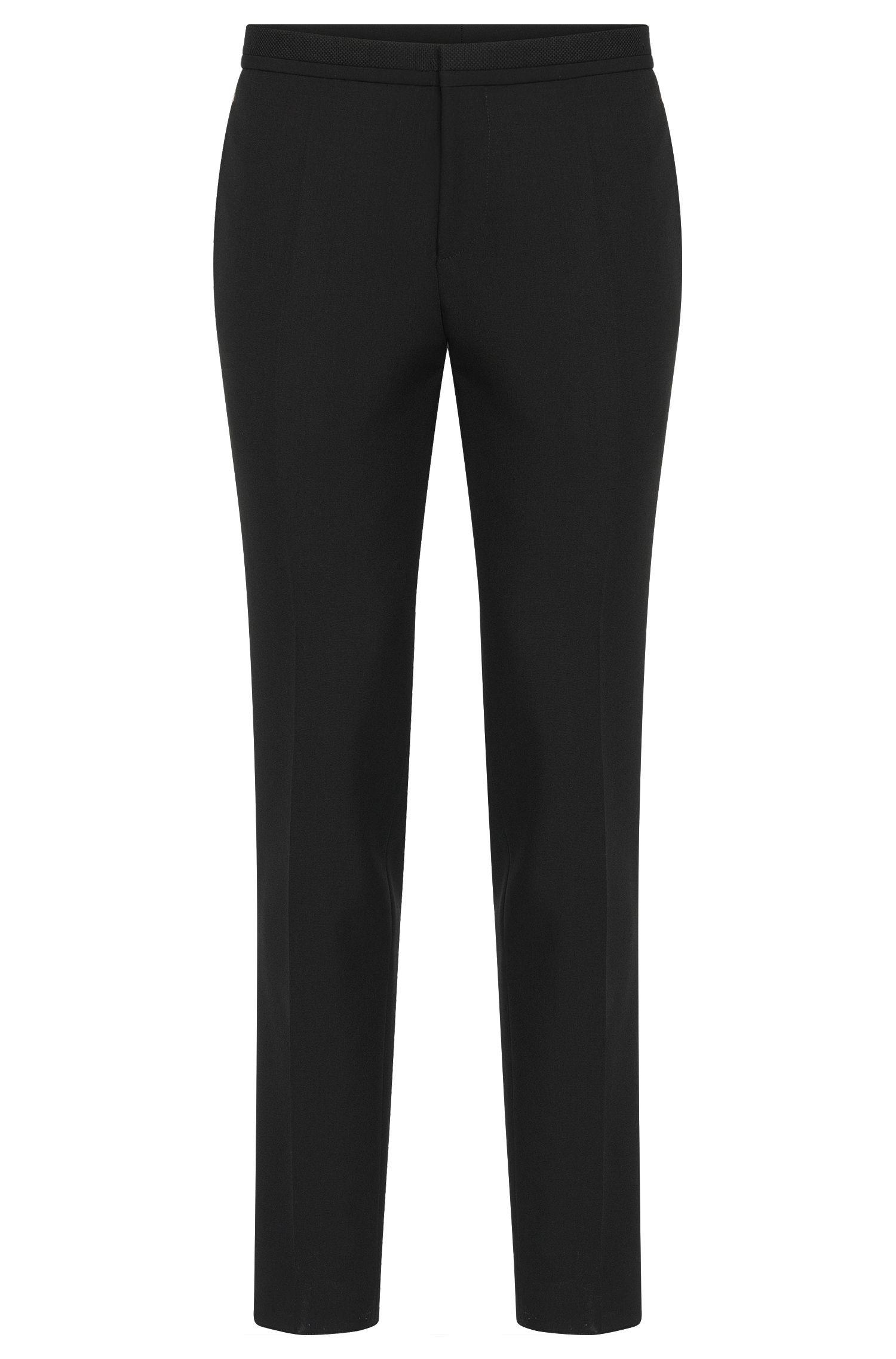 Virgin Wool Mohair Dress Pants, Extra Slim Fit | Wynn, Black