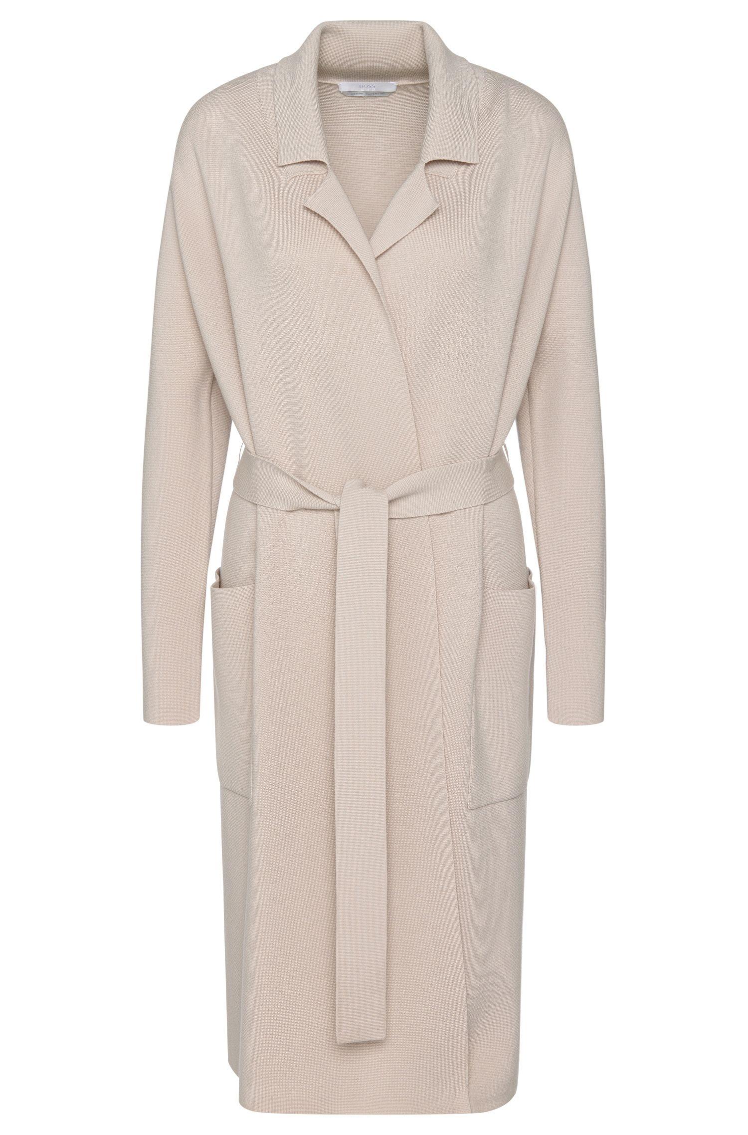 Virgin Wool Belted Sweater Cardigan  | Fasilena