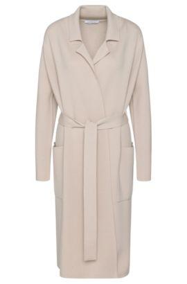 Virgin Wool Belted Sweater Cardigan  | Fasilena, Light Beige