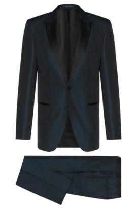 'T-Hampton/Glad' | Slim Fit, Italian Silk Iridescent Tuxedo, Dark Blue