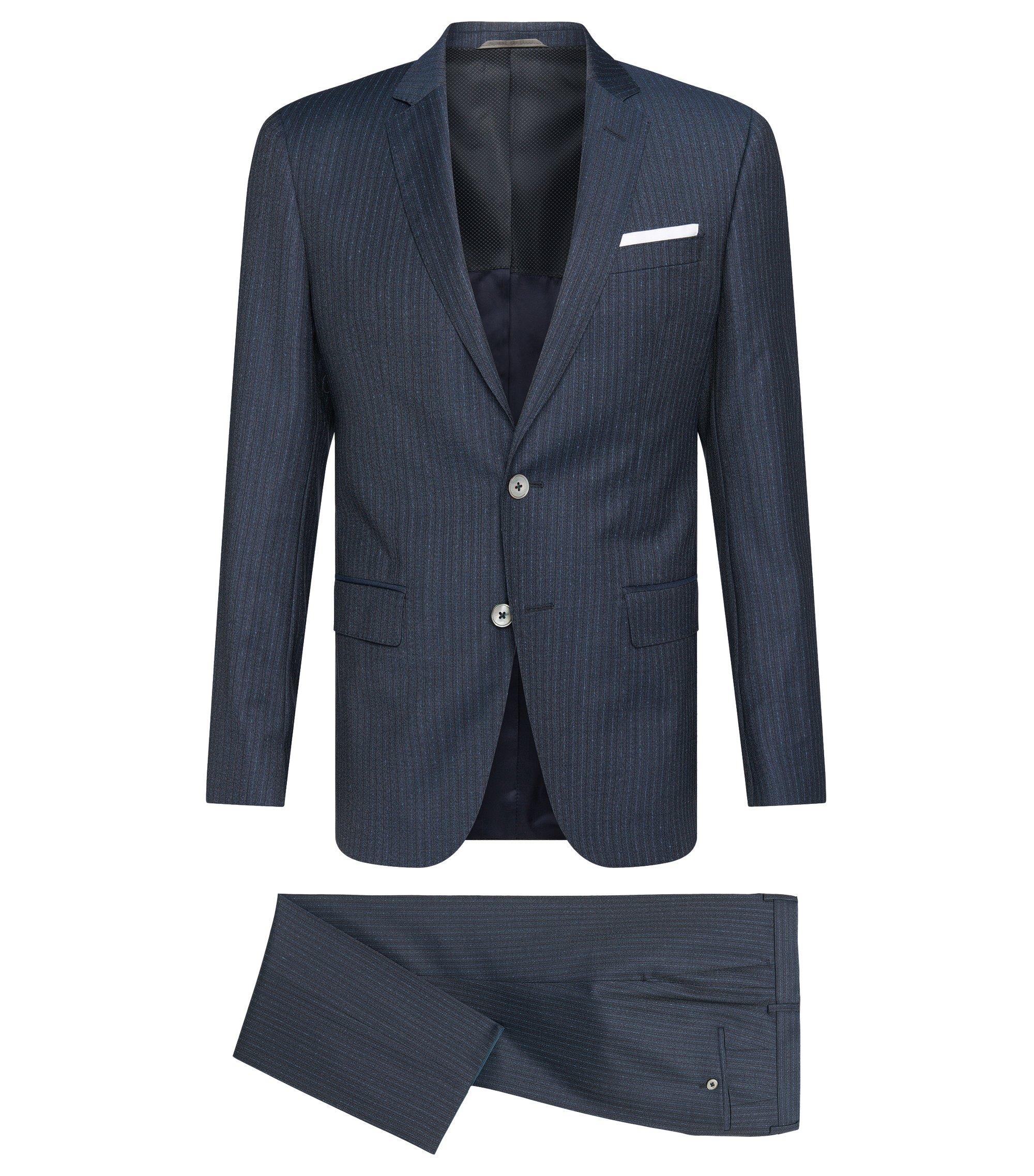 Striped Super 100 Italian Virgin Wool Suit, Slim Fit | Hutson/Gander, Dark Blue