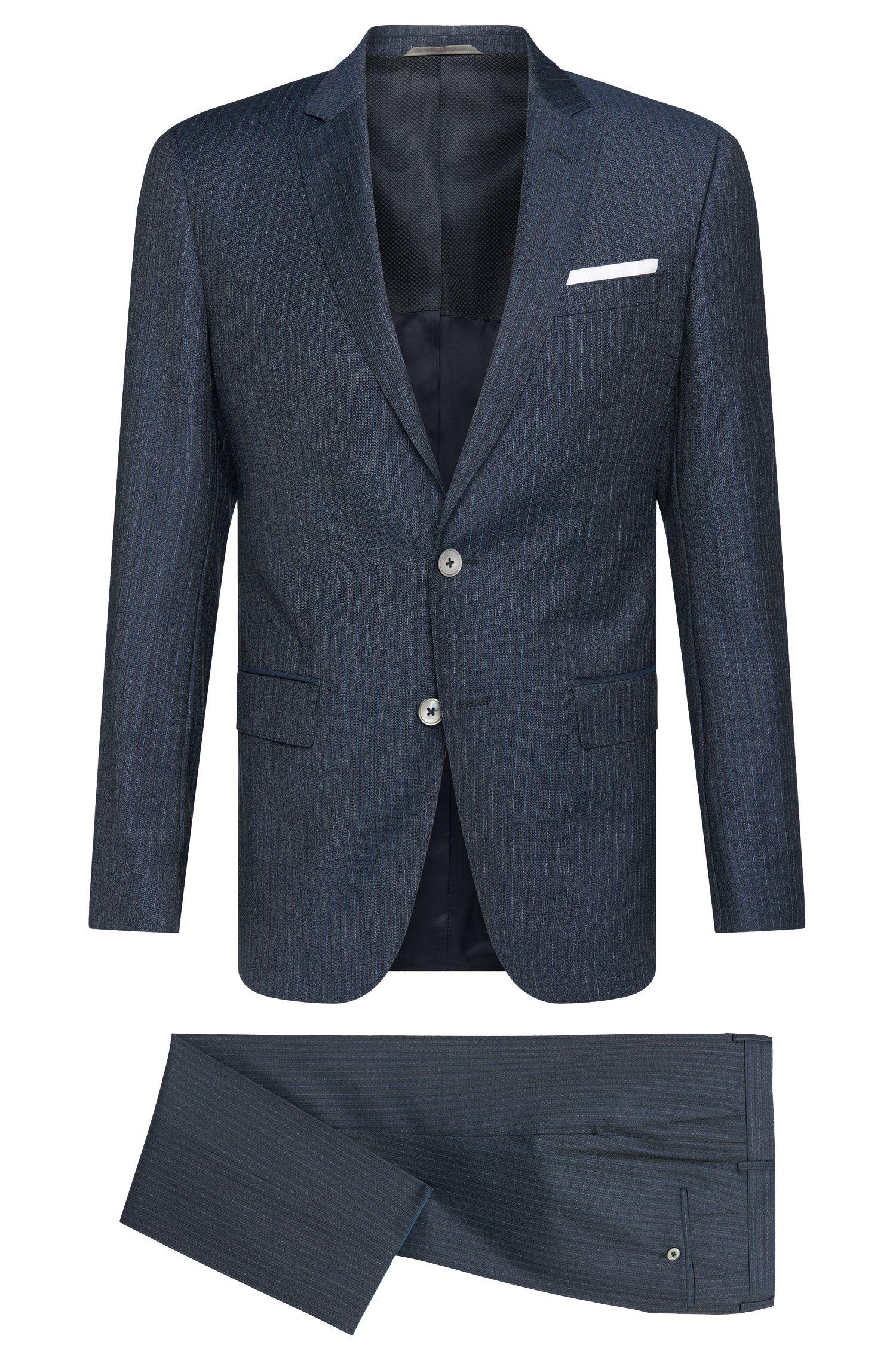 Striped Super 100 Italian Virgin Wool Suit, Slim Fit | Hutson/Gander