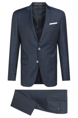 Striped Super 100 Italian Virgin Wool Suit, Slim Fit | Hutson/Gander, Dark Blue