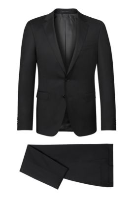 Virgin Wool Suit, Extra-Slim Fit | Ryan/Win, Black