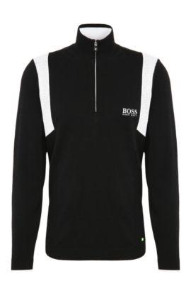 Water-Repellent Stretch Cotton Sweater | Zelichior Pro S17, Black
