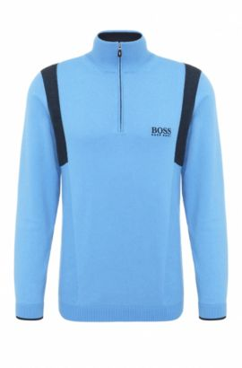 'Zelichior Pro S17' | Water Repellent Stretch Cotton Blend Sweater, Blue