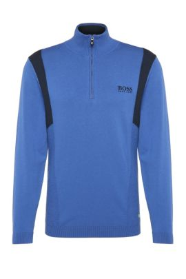 'Zelichior Pro S17' | Water Repellent Stretch Cotton Blend Sweater, Open Blue
