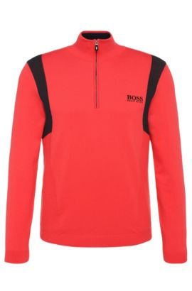 'Zelichior Pro S17' | Water Repellent Stretch Cotton Blend Sweater, Open Red