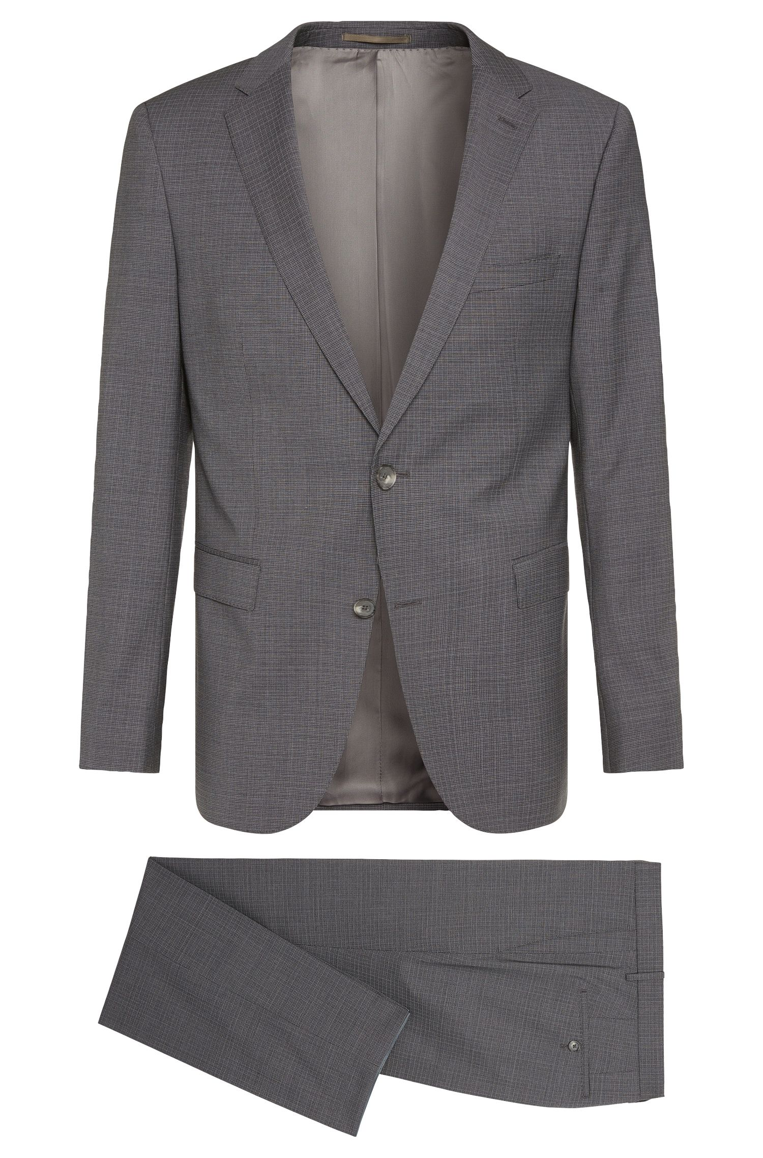 Crosshatch Super 120 Italian Virgin Wool Suit, Slim Fit | Novan/Ben