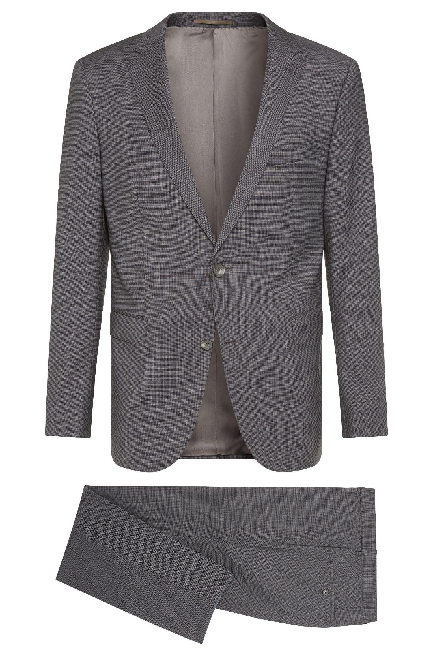Crosshatch Super 120 Italian Virgin Wool Suit, Slim Fit | Novan/Ben