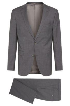 Crosshatch Super 120 Italian Virgin Wool Suit, Slim Fit | Novan/Ben, Grey
