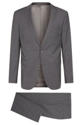 Crosshatch Super 120 Italian Virgin Wool Suit, Slim Fit | Novan/Ben, Grey