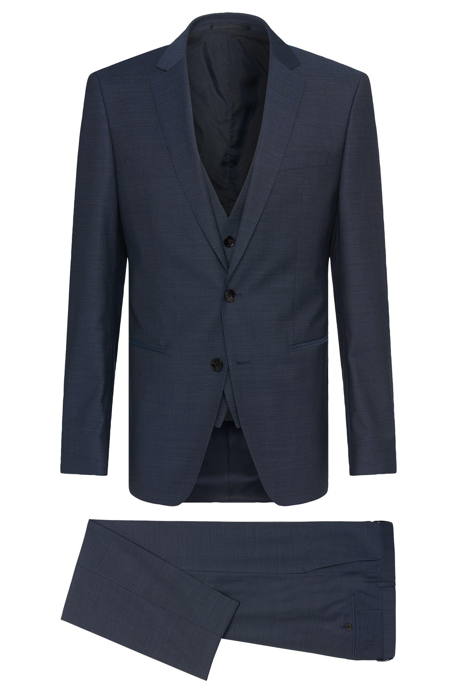 Sharkskin Italian Super 130 Virgin Wool 3-Piece Suit, Slim Fit | Hamsen/Glen WE