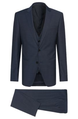 Sharkskin Italian Super 130 Virgin Wool 3-Piece Suit, Slim Fit | Hamsen/Glen WE, Blue