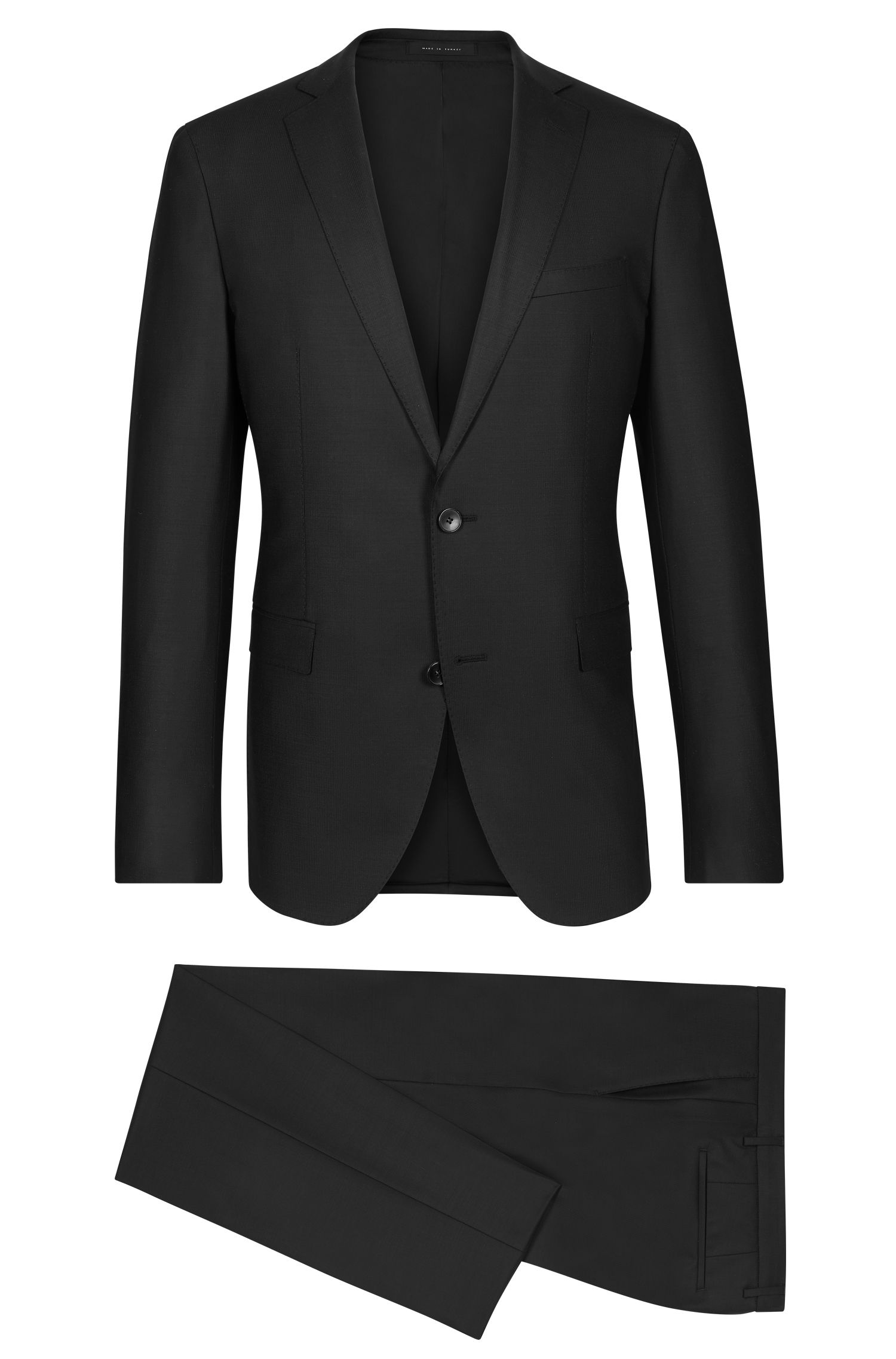 Stretch Virgin Wool Textured Suit, Extra-Slim Fit | Reyno/Wave, Black