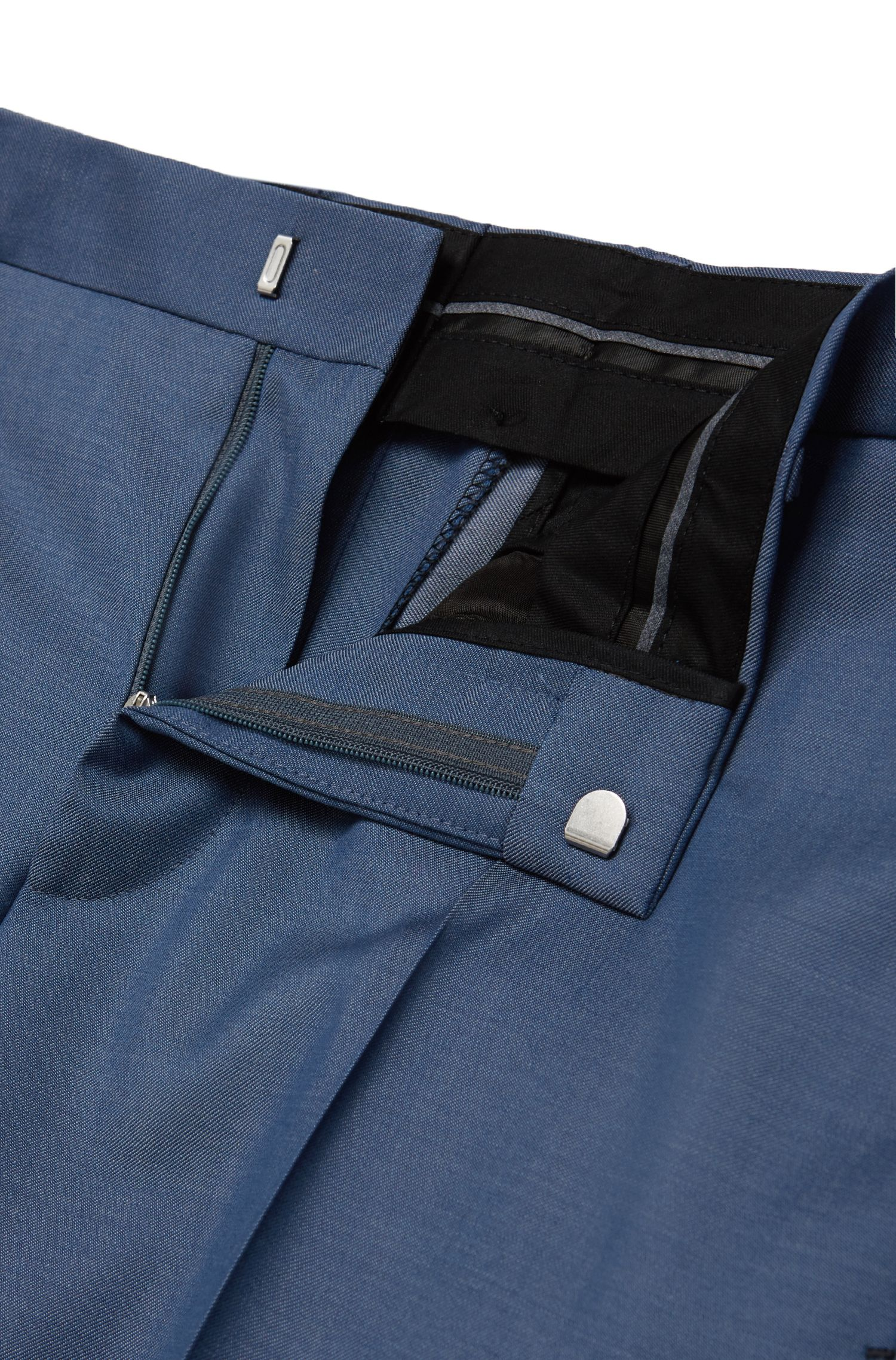 'Genesis' | Slim Fit, Italian Super 100 Virgin Wool Dress Pants, Light Blue