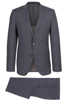 Glen Check Super 100 Virgin Wool Suit, Slim Fit | Huge/Genius, Grey