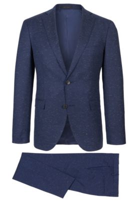Stretch Virgin Wool-Cotton Donegal Suit, Extra-Slim Fit | Reyno/Wave, Dark Blue
