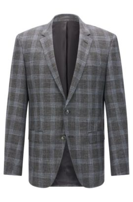 'T-Heel' | Slim Fit, Stretch Virgin Wool Blend Sport Coat, Dark Grey