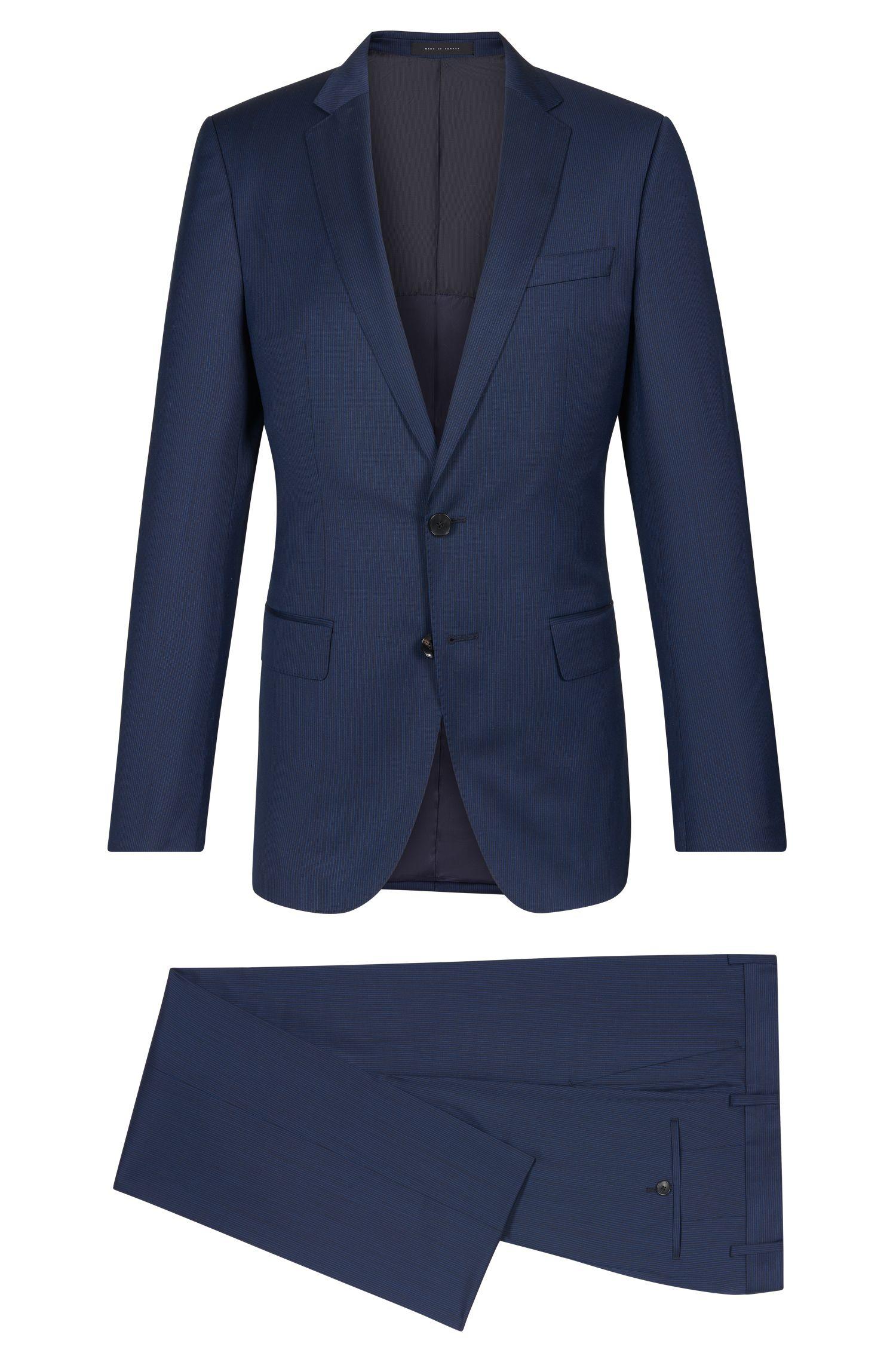 Striped Super 100 Virgin Wool Suit, Slim Fit | Huge/Genius