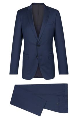 Striped Super 100 Virgin Wool Suit, Slim Fit | Huge/Genius, Blue