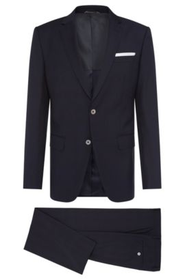 Italian Super 110 Virgin Wool Suit, Slim Fit | Hutson/Gander, Dark Blue