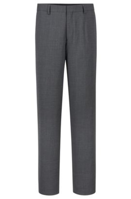 'Genesis' | Slim Fit, Stretch Wool Blend Check Dress Pants, Grey