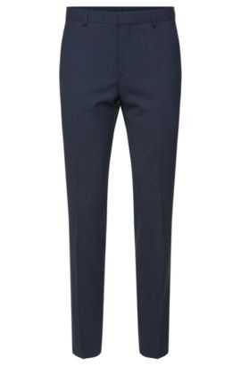 'Genesis' | Slim Fit, Stretch Wool Blend Check Dress Pants, Light Blue