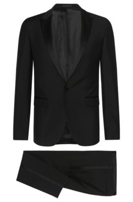 Italian Virgin Wool-Mohair Tuxedo, Extra-Slim Fit   Reysen/Weever, Black