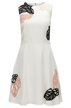 'Dyfera' | Cotton Blend Embroidered Dress, Natural