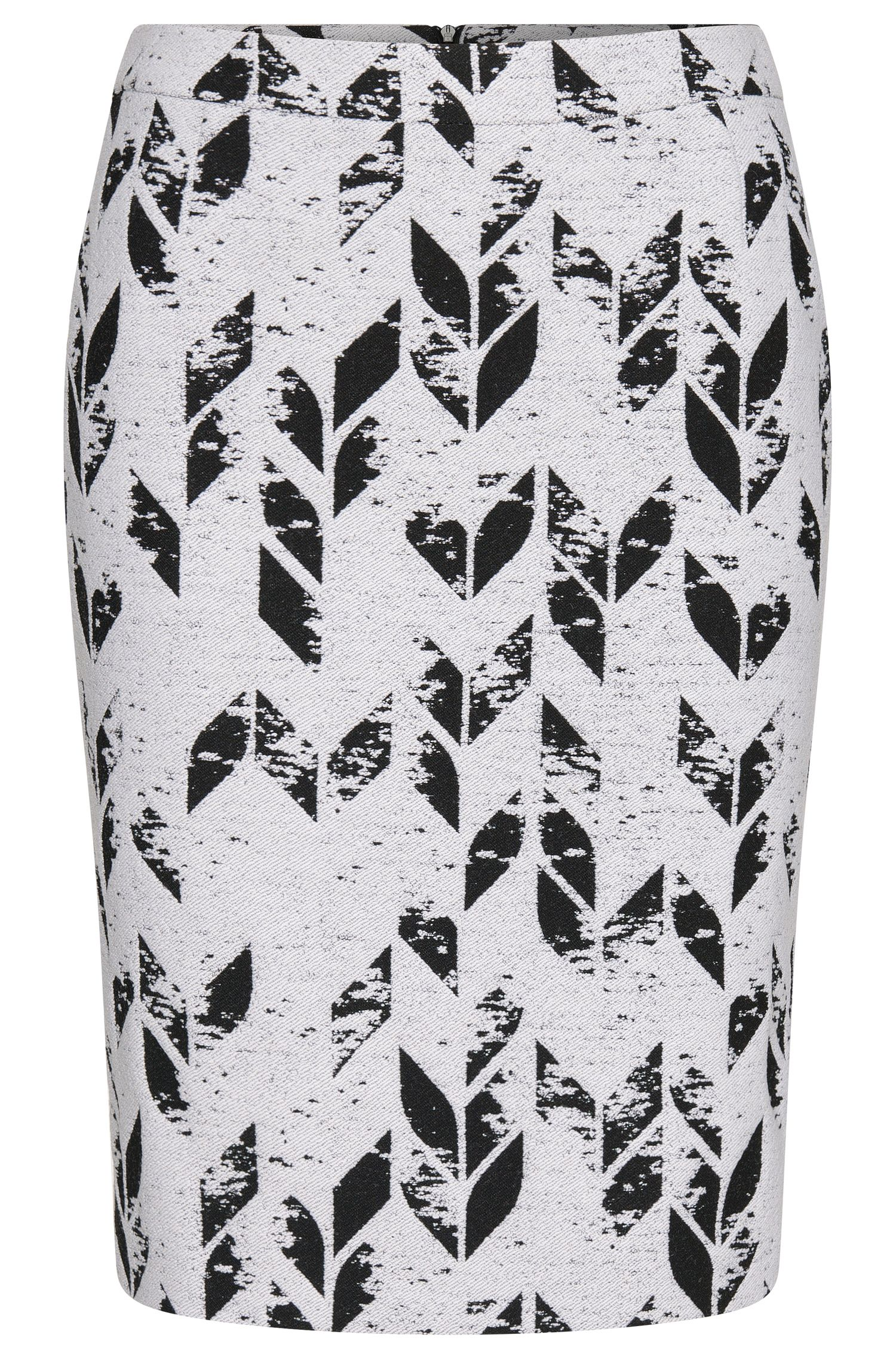 'Vimena' | Wool Blend Jacquard Pencil Skirt