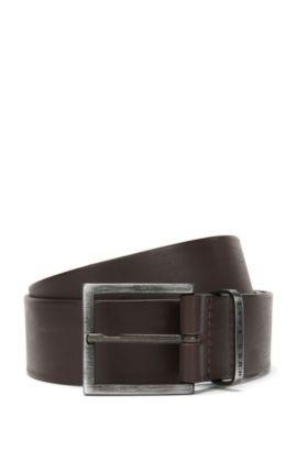 Leather Brushed Buckle Belt | Scott Sz40 ltpl, Dark Brown