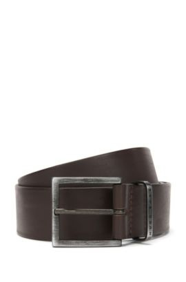 'Scott Sz40 ltpl' | Leather Brushed Buckle Belt, Dark Brown