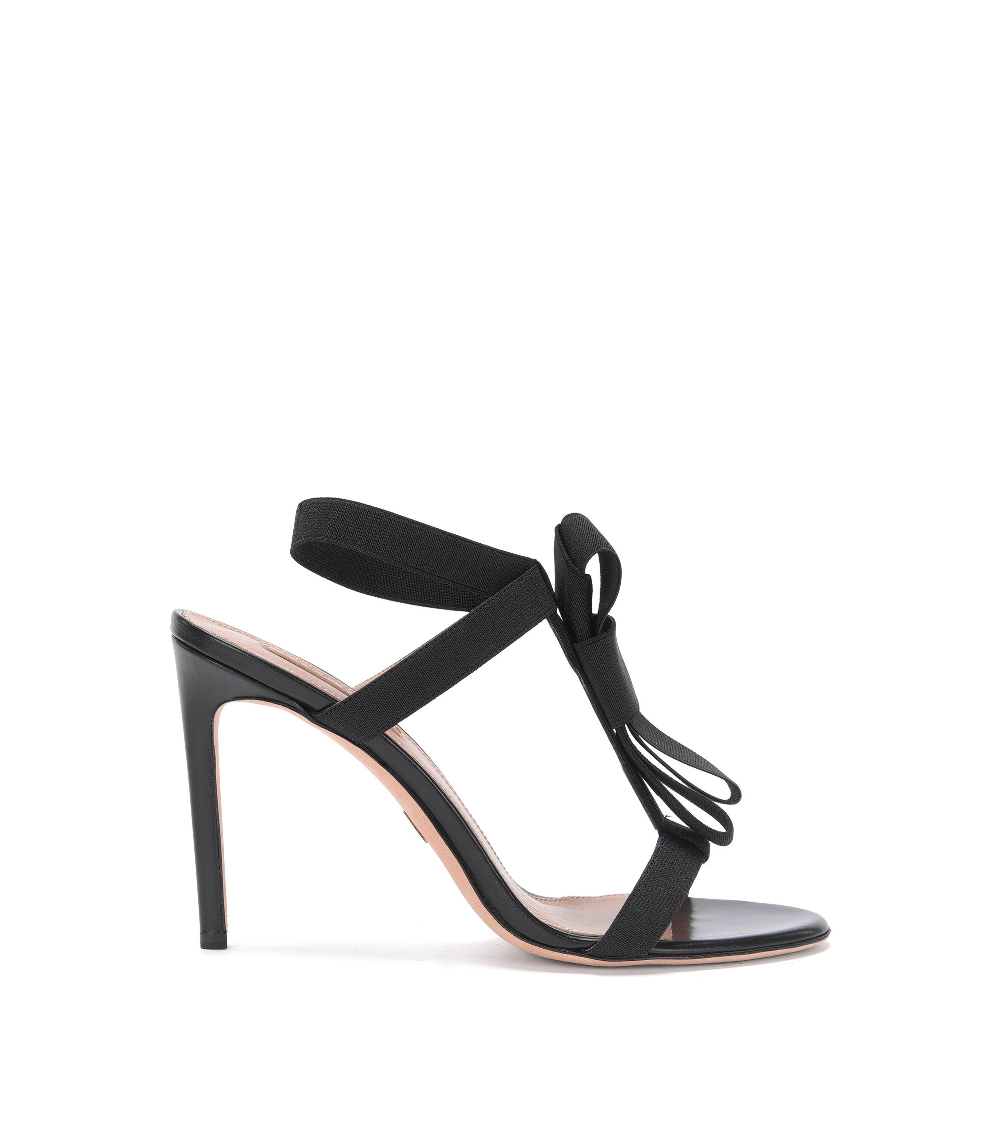 'Bow Tie Sandal' | Stretch Bow Tie Leather Sandal, Black