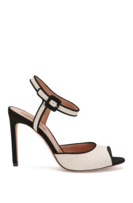 'Canvas Sandal ' | Italian Suede Linen Heeled Sandals, Natural