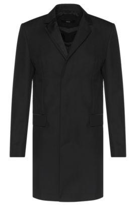 'Nabor' | Virgin Wool Mohair Grosgrain Detail Car Coat, Black