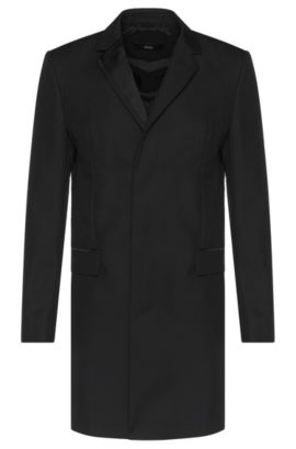 'Nabor' | Virgin Wool Mohair Grosgrain Detail Car Coat, Black