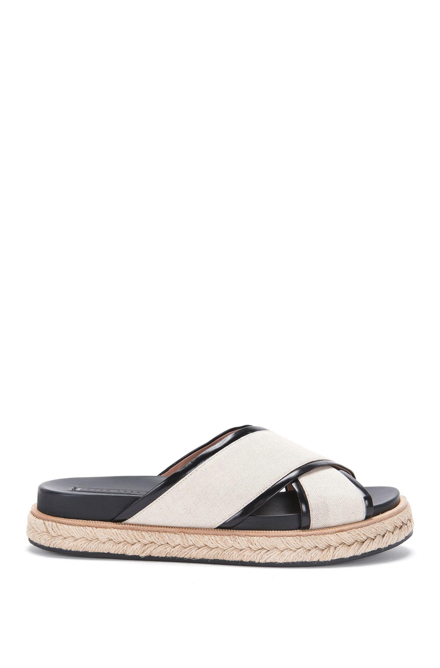 'Crisscross Sandal' | Calfskin Jute Canvas Sandals