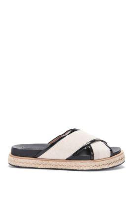 'Crisscross Sandal' | Calfskin Jute Canvas Sandals, Natural