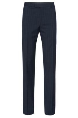 'Leenon' | Regular Fit, Italian Virgin Wool Plaid Dress Pants, Dark Blue