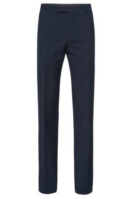 'Leenon' | Regular Fit, Italian Virgin Wool Plaid Dress Pants, Dark Blue