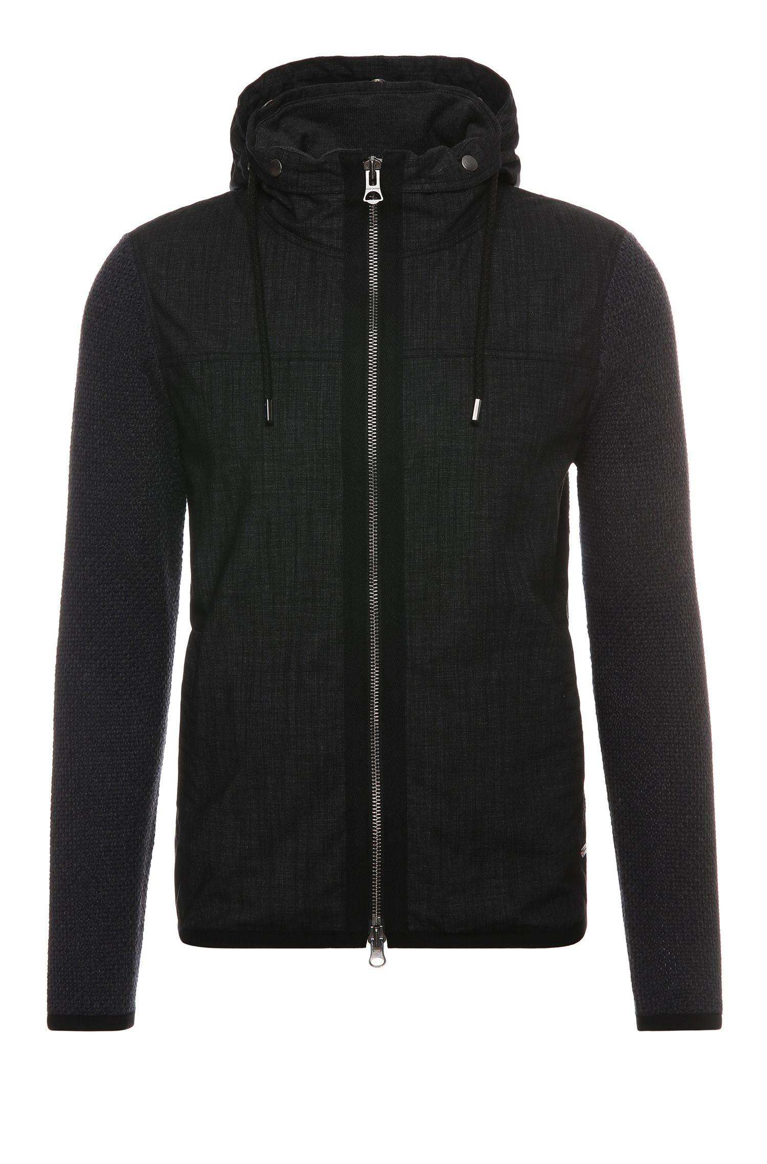 'Azykmir'   Cotton Mixed Media Jacket, Detachable Hood