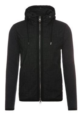 'Azykmir' | Cotton Mixed Media Jacket, Detachable Hood, Charcoal