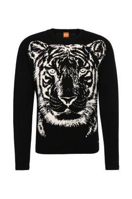 'Kiger' | Cotton Intarsia Knit Sweater, Black