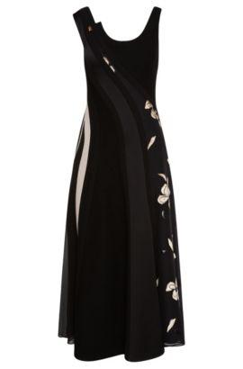 'FS Delveti' | Silk Blend Embroidered A-Line Dress, Patterned