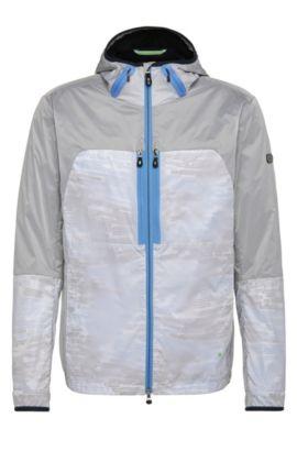 'Jaxim' | Nylon Blend Layered Hooded Jacket, Blue