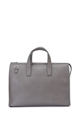 'Elegance Holdall' | Italian Calfskin Weekender Bag, Detachable Shoulder Strap, Grey