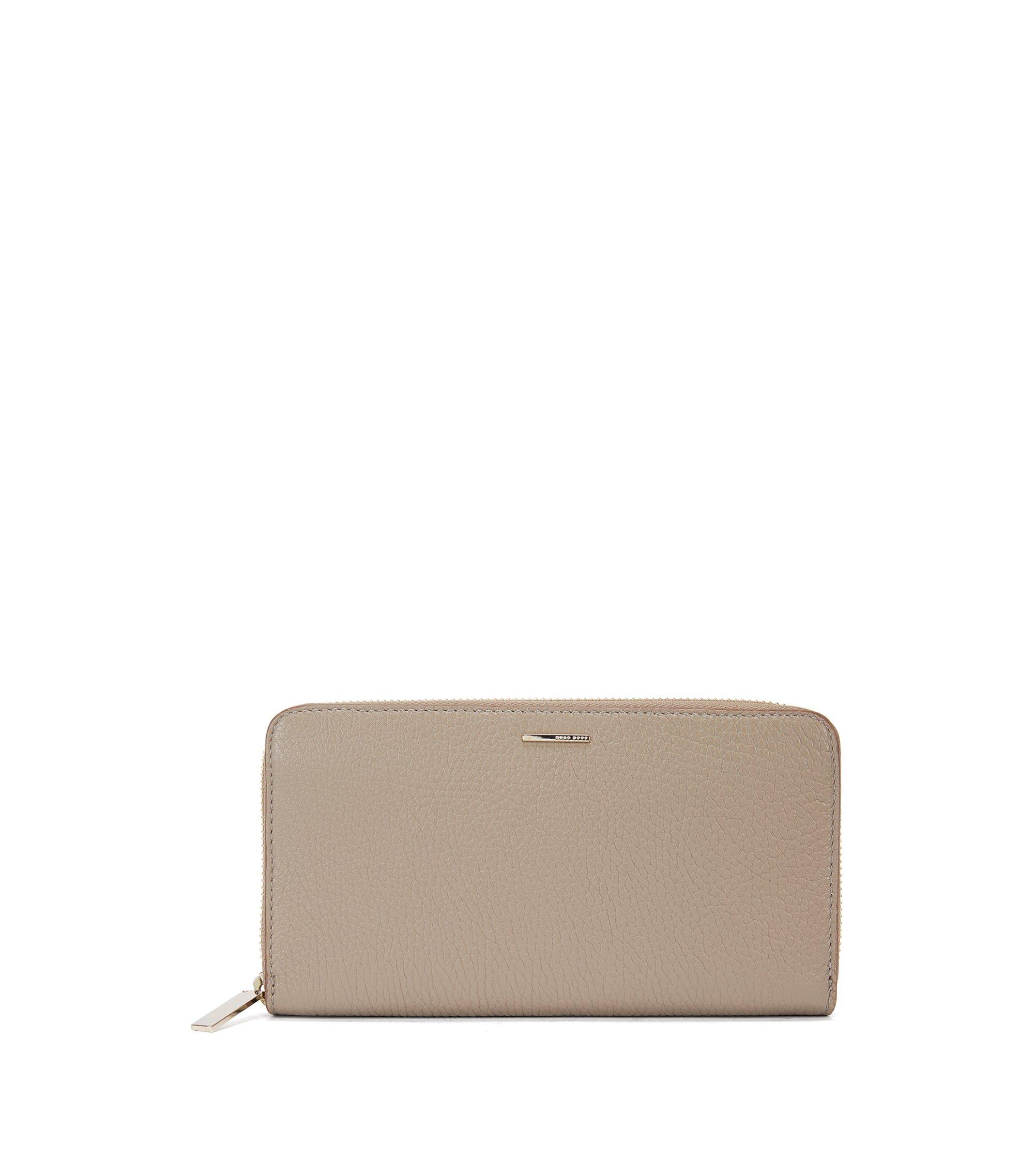 Leather Embossed Zip Wallet | Staple Ziparound A, Beige