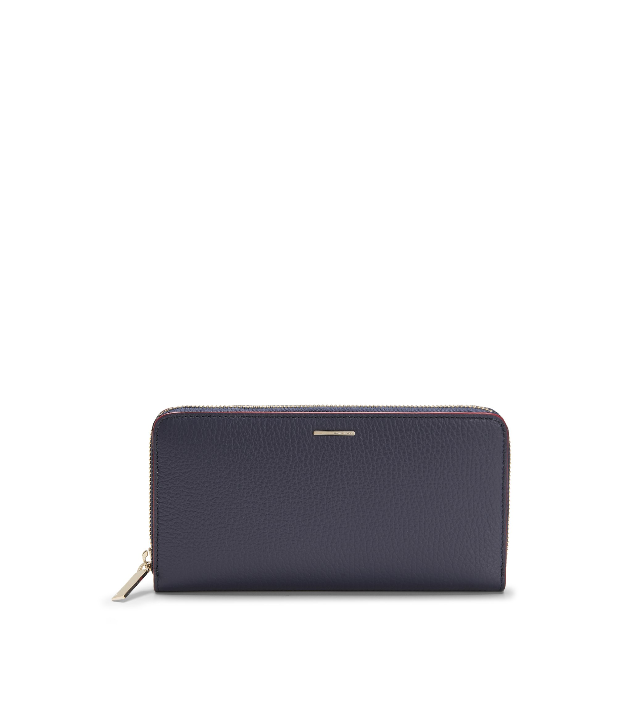 Leather Embossed Zip Wallet | Staple Ziparound A, Open Blue